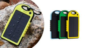 Spatwaterdichte solar powerbank 5000 mAh! ticketveiling